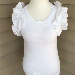 Tops - White Ruffle short sleeve Shirt